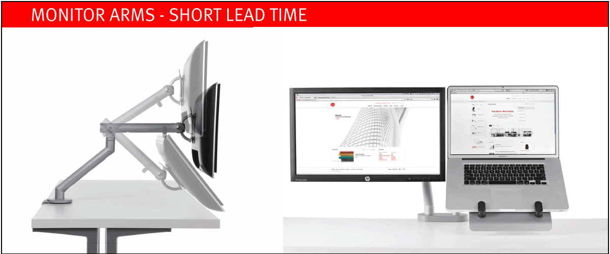 Monitor Arms on short lead time at designcraft