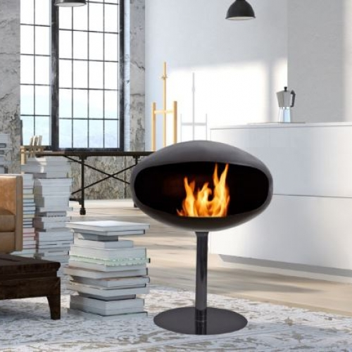 Pedestal Cocoon Fire fireplace, Coccon Fire designed by FEDERICO OTERO