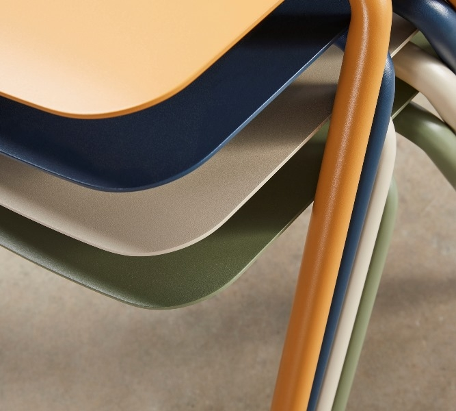 Seam stacking Chair, Tait Seam chair designed by Adam Cornish, Seam stackable chair