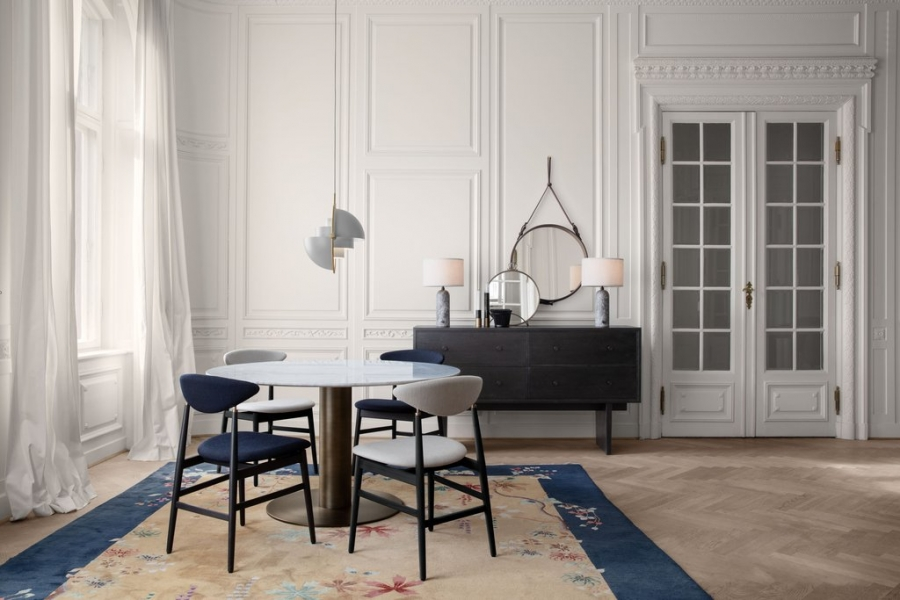 Gent chair / Multilite pendant / gravity lamp / private sideboard /adnet mirror by Gubi.