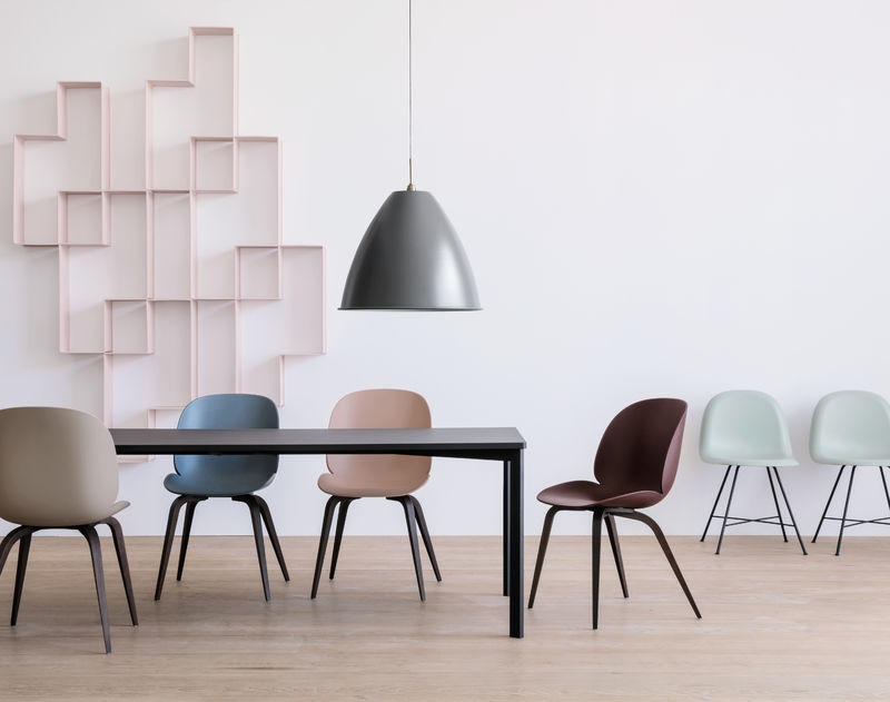 Gubi Beetle chair unupholstered, Gubi beetle chair designed by GamFratesi, timber base gubi beetle chair