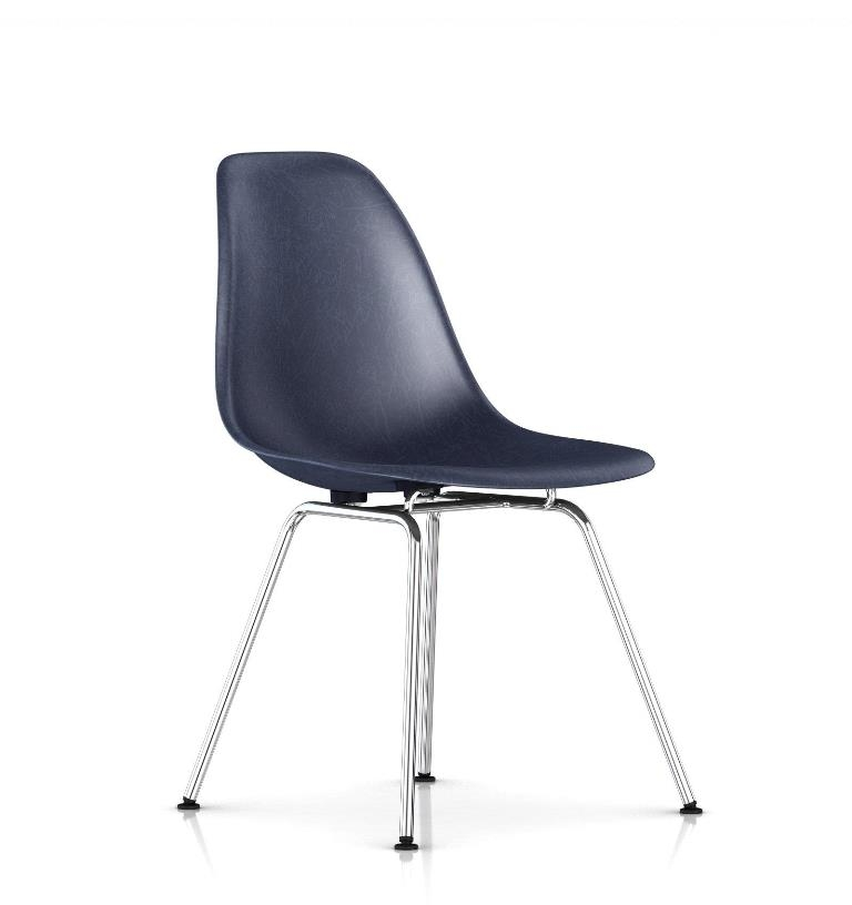 Eames Moulded Fiberglass chair on chrome base, Eames Moulded Fiberglass chair on 4 leg base, Eames Fibreglass chair
