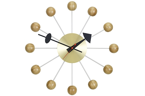 George Nelson Ball clock, Vitra Ball clock designed by George Nelson, Nelson Ball clock in Cherry