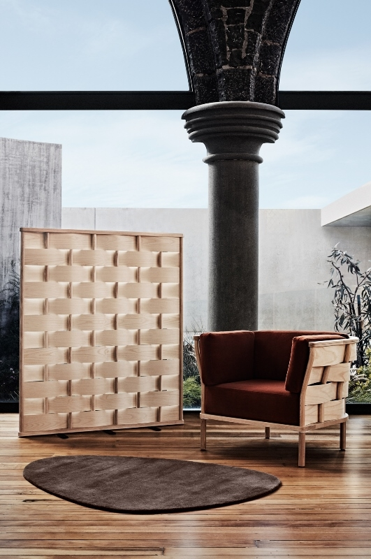 NAU collection, Bower armchair, Bower screen Bower collection by Adam Goodrum for NAU