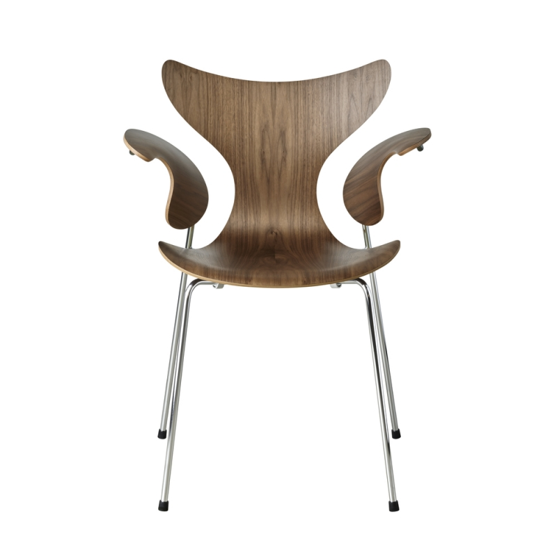 Lily Chair designed by Arne Jacobsen 50th anniversary, Lily chair Walnut veneer 50th anniversary edition, 50th anniversary edition of Lily Chair designed by Arne Jacobsen for Fritz Hansen