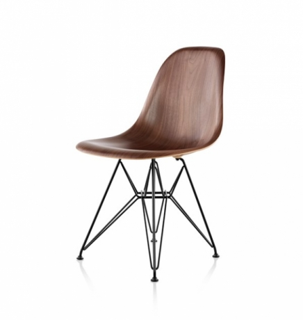 Eames DWSR, DWSR dining chair with walnut shell, Eames dining chair with wire base