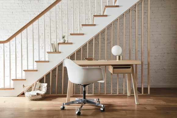 Distil desk designed by Todd Bracher, Eames Task chair, Herman Miller desk, Herman miller timber desk