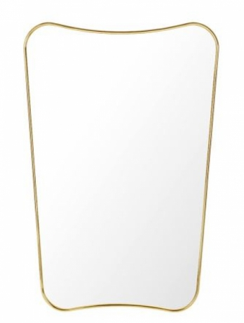 FA33 Mirror designed by Gio Ponti, Gubi wall mirror by Gio Ponti, Gubi brass frame mirror
