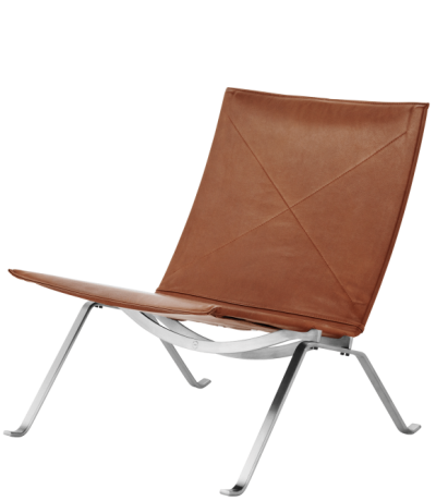 PK22 Lounge designed by POUL KJAERHOLM for Fritz Hansen, PK lounge with walnut leather  seat