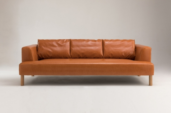 Brydie sofa with solid oak legs designed by Ross Didier, Brydie sofa with timber legs