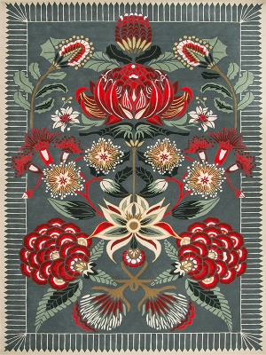 Waratah wonderland, Waratah rug by designer rugs, designer rug new collection