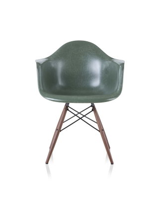 Vintage colour reintroduced Eames fiberglass chair, deep seafoam vintage colour shell for Eames fiberglass chair