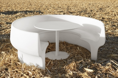 Cup communal booth seats designed by Alexander Lotersztain, Cup seating Derlot Editions