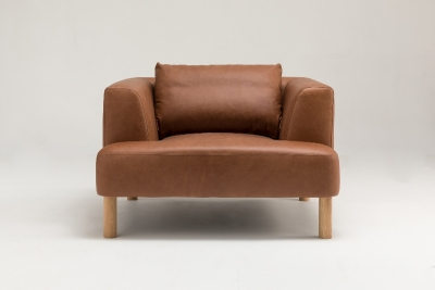 Brydie Single with solid oak legs designed by Ross Didier, Brydie sofa with timber legs