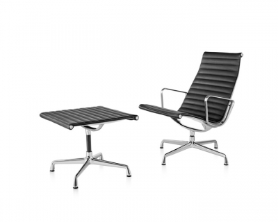 Eames Aluminium Group Lounge Chair and Ottoman designed by Ray and Charles Eames, Herman Miller Eames Lounge and ottoman, Herman Miller Eames Aluminium Group chair Lounge
