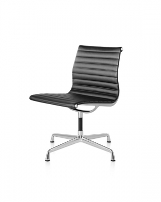 Eames Aluminium Group Side Chair and Ottoman designed by Ray and Charles Eames, Herman Miller Eames Side chair, Herman Miller Eames Aluminium Group chair Side