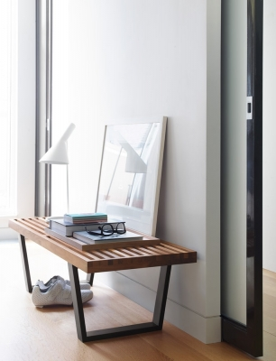 Nelson Platform Bench and AJ Table Lamp