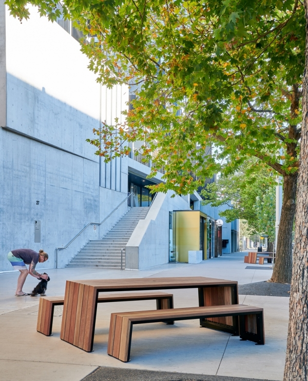 Kink tables and benches by Tait, Canberra City Renewal Authority, of the City Precinct Renewal Program by The City Renewal Authority